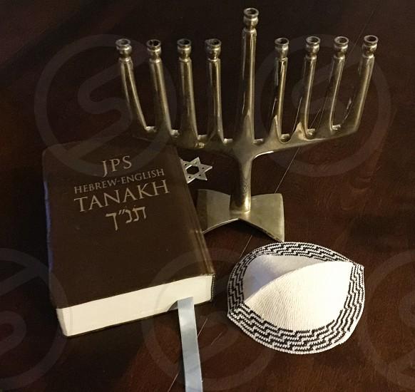 Menorah Yahmica and the Torah preparing for Chanukah Jewish Tradition Traditions Tanakh JPS Language of Fire  Chanukah necessities photo