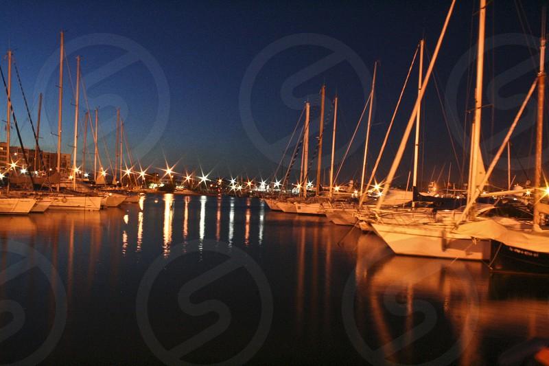 dock night lights ibiza boats spain photo
