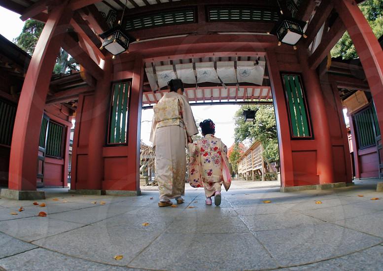 girls white floral print kimono photo