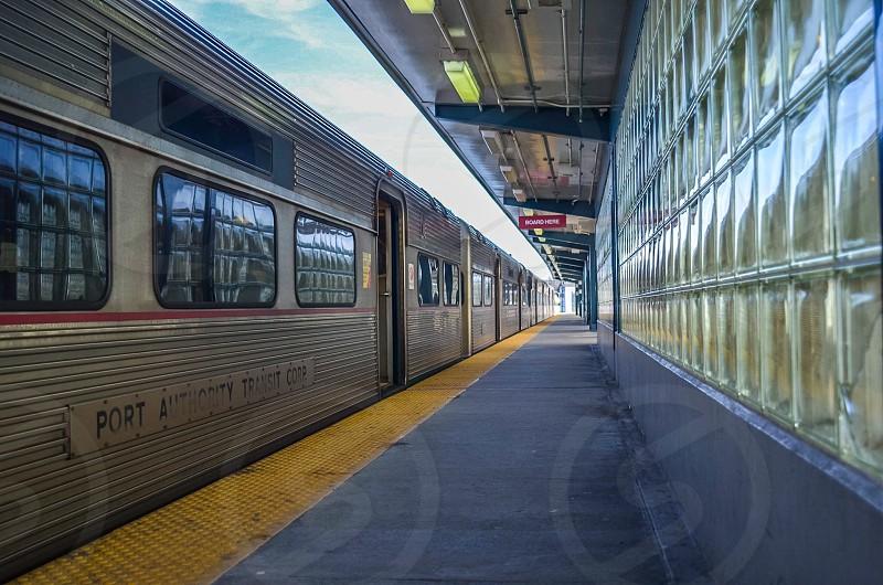 Port Authority Transit train on side of station platform photo