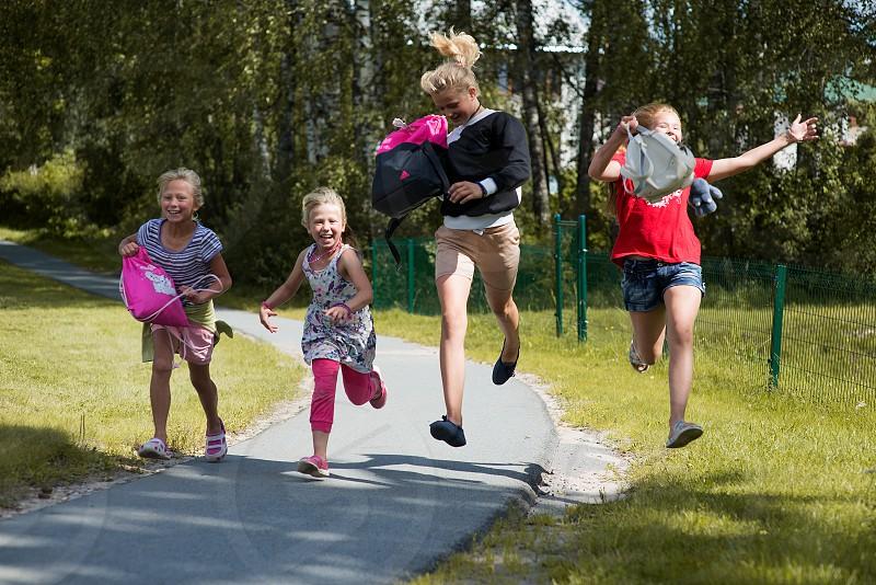 happy schoolgirls photo