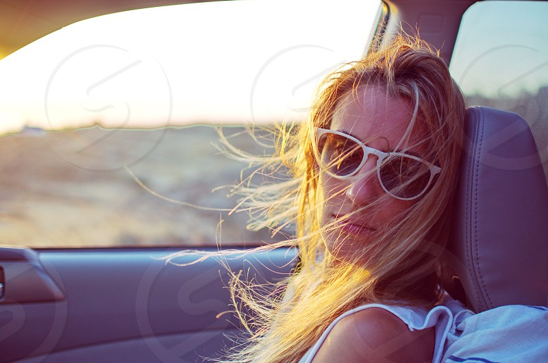 Woman in a car photo