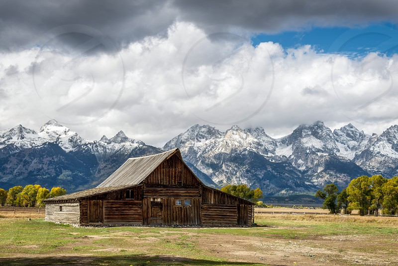 View of Mormon Row near Jackson Wyoming photo