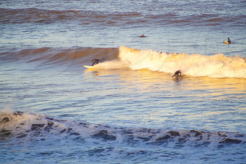 Surfers surfing the waves in the sea photo