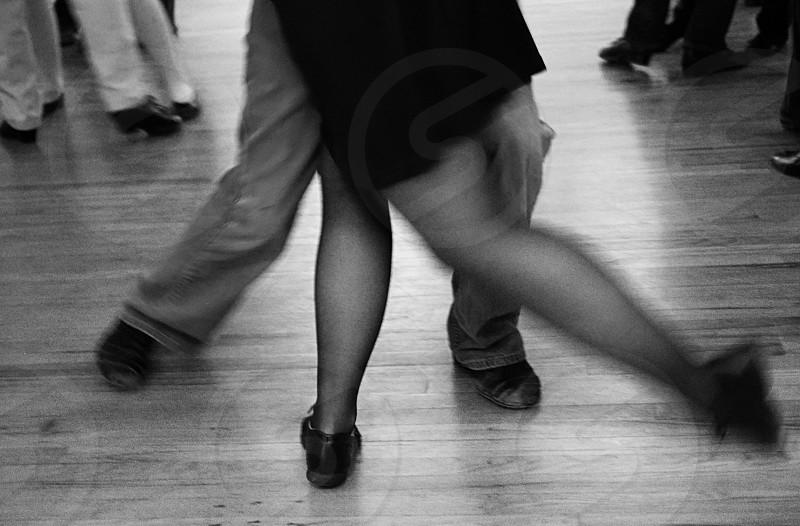 Tango legs dance black and white motion photo