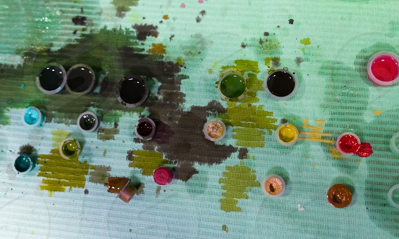 colors used to do tattoos you see the dirty table of ink photo