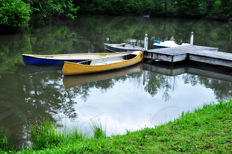 Canoes in the lake photo