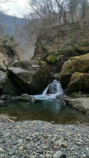 自然 川 山 渓流  釣り 滝 photo