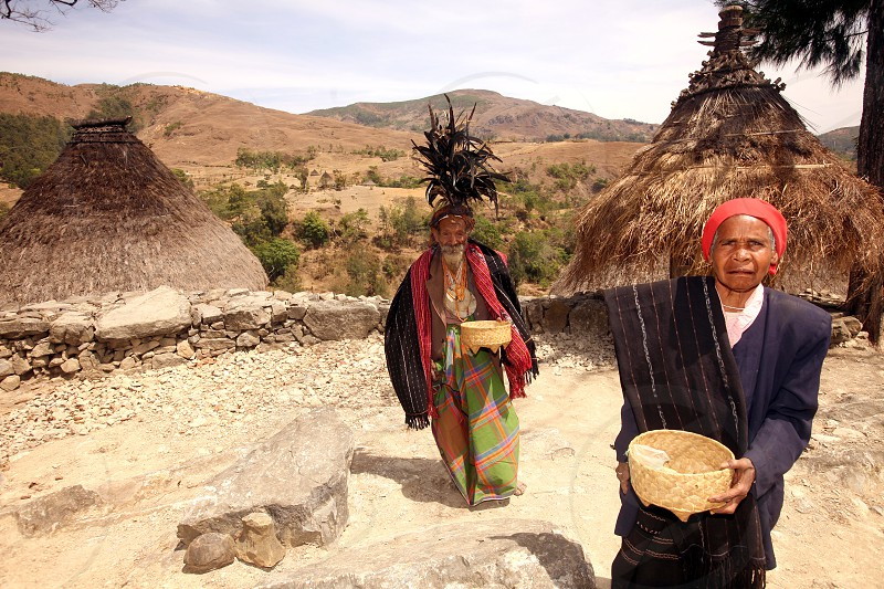 Mambai People and Farmers in the landscape near the Village Maubisse in the south of East Timor in southeastasia. photo