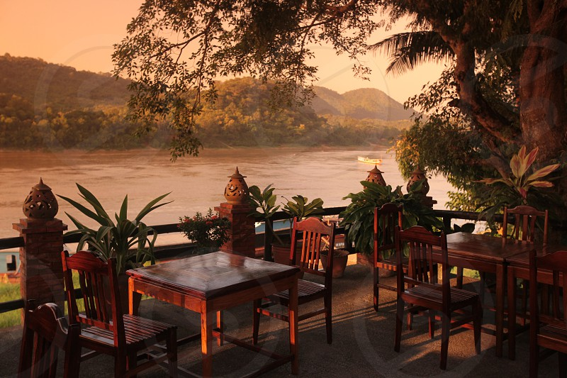 the Mekong River near Luang Prabang in the north of Lao in Souteastasia. photo