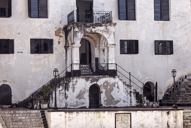 Stairs at a slave castle in Ghana photo