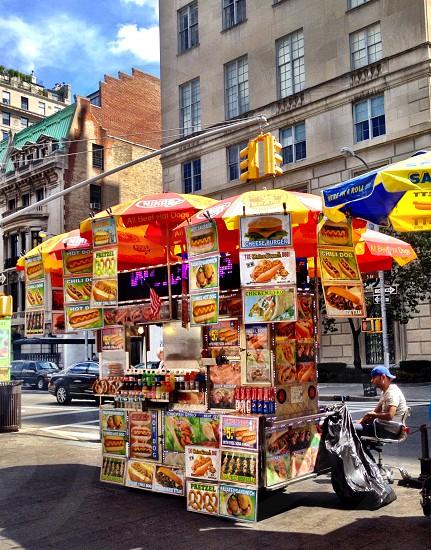 New York City street vendors food hot dogs  photo