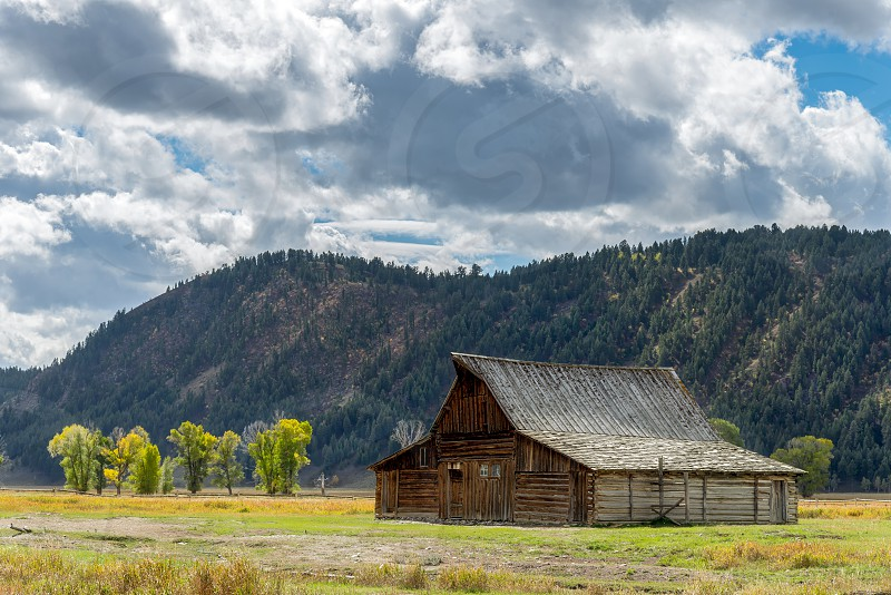 Wooden Building at Mormon Row near Jackson Wyoming photo