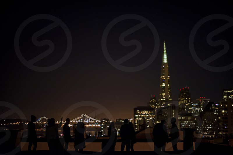 Party in front of a San Francisco Skyline photo