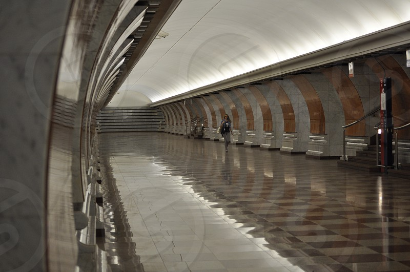 subway tunnel subway tunnels architecture polished floors shiny long lonesome empty white brown Moscow beautiful fancy elegant  photo