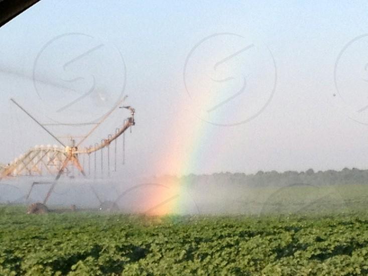 Rainbow created by irrigation machine farming soybeans photo