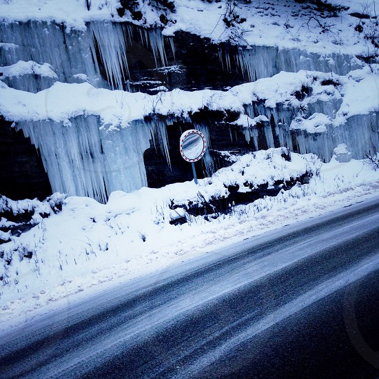 Winter road Norway holiday ice driving road curvy road road winter  photo
