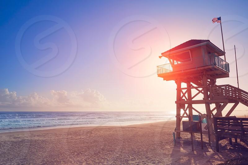 Daytona Beach in Florida baywatch tower in USA photo