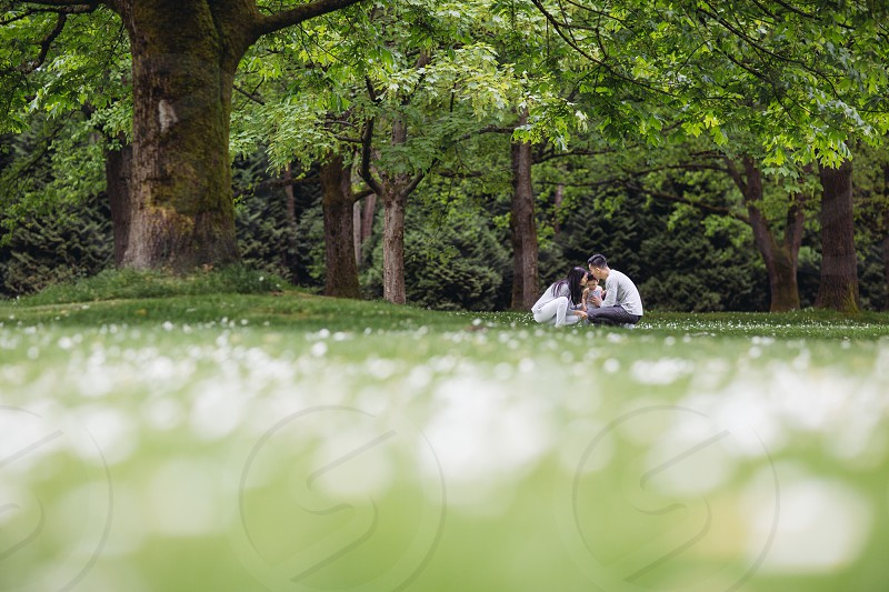 a man woman and child on green grass under green oak tree photo