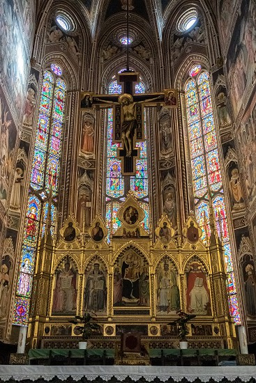 FLORENCE TUSCANY/ITALY - OCTOBER 19 : Golden altar in Santa Croce Church in Florence on October 19 2019 photo