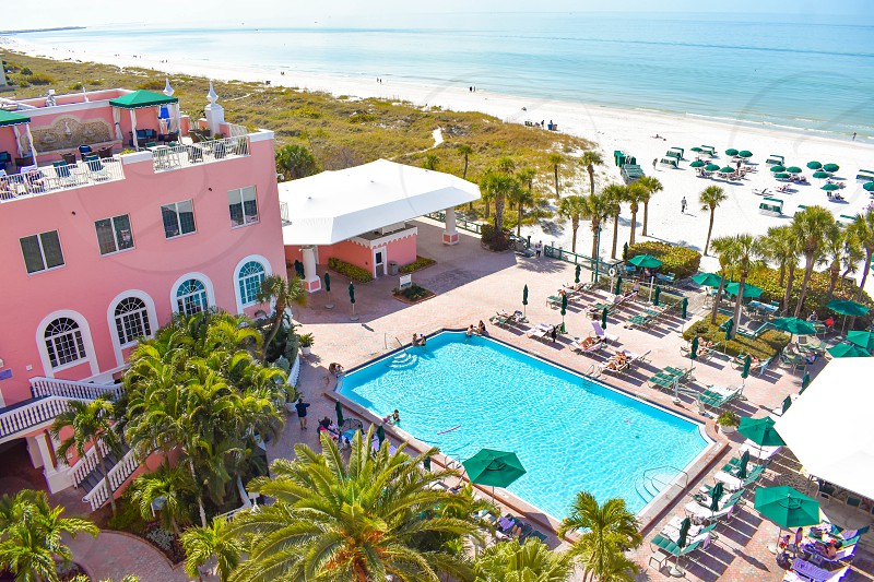 St. Pete Beach Florida. January 25 2019. Pool area view of The Don Cesar Hotel and St. Pete Beach .The Legendary Pink Palace of St. Pete Beach (3) photo