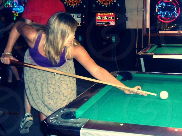 Girls night out at the local pool hall photo
