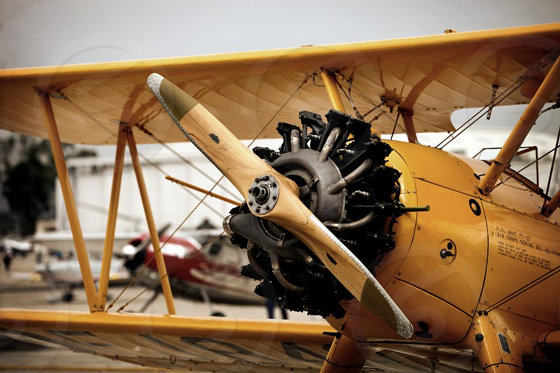 Classic biplane ready for flight photo