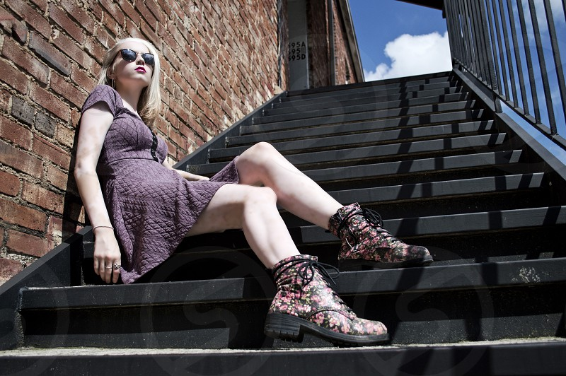 Urban Sunglasses Boots Female Outdoor Stairs Brick Dress Model Fashion Lifestyle Young Hipster 2014 photo