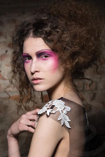 beauty portrait girl backstage fashion show photo