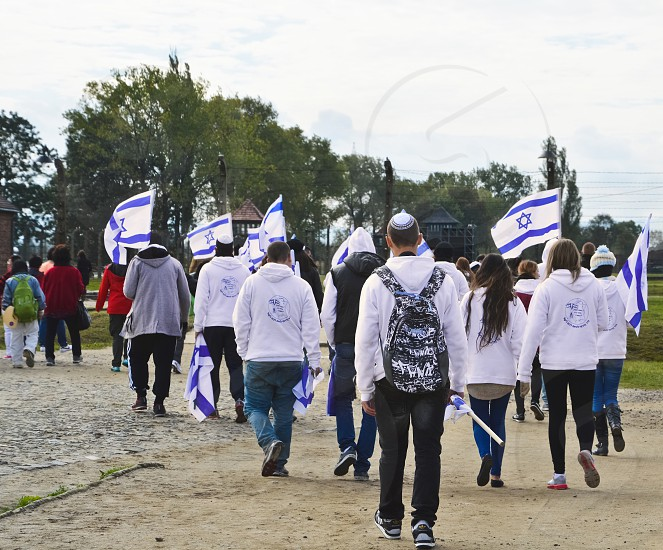 Jewish youth group visits the concentration camp in Oswiecim Poland. photo