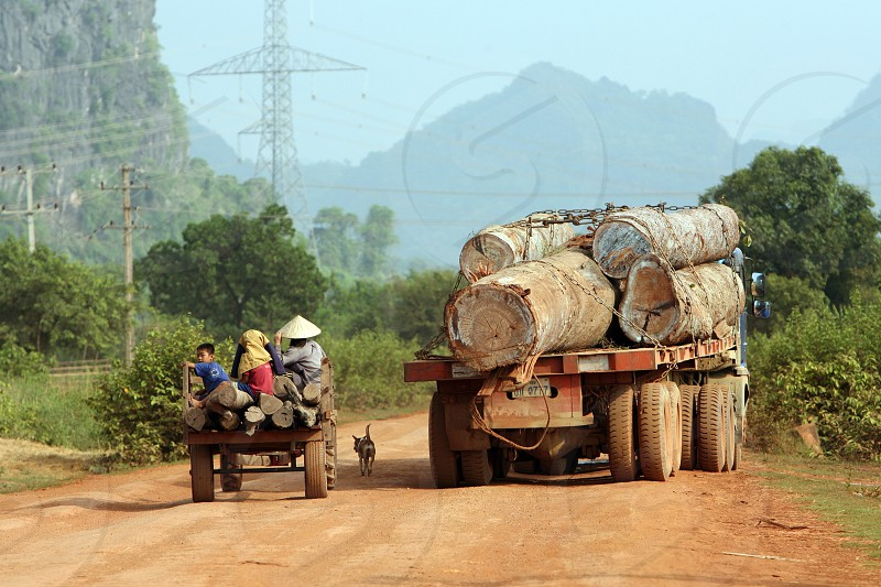 a wood transport with tropical wood trees on a Road in the landscape on the road12 bedwen the Towns of Tha Khaek and the Village of Mahaxai Mai  in central Lao in the region of Khammuan in Lao in Souteastasia. photo