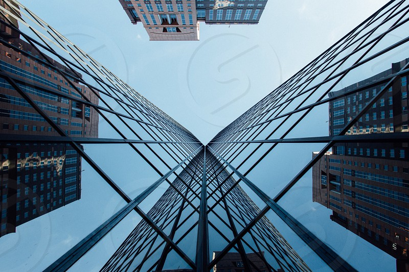 Building architecture lookup looking up symmetry glass reflection lines wide angle no people horizontal Pittsburgh  photo