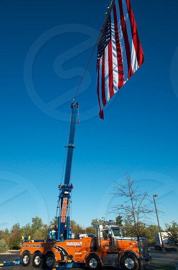 Tow Truck and USA Flag photo