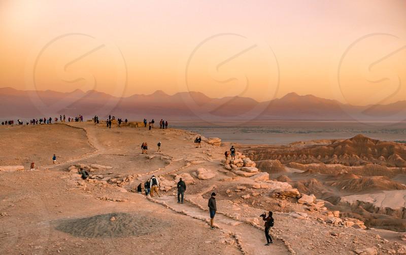 Sunset time at Atacama Desert photo