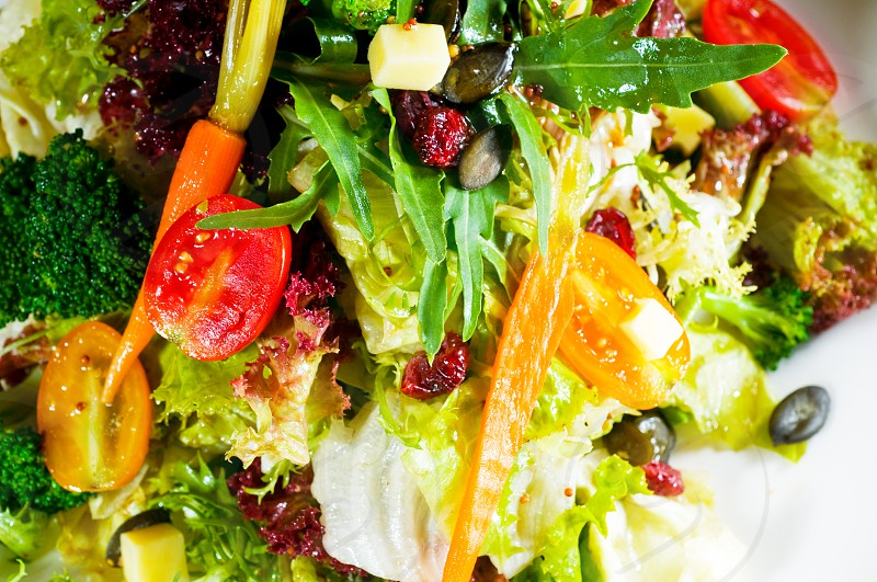 fresh mixed vegetables salad extreme close up very healthy food photo
