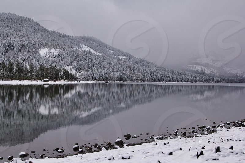 view of mountain covered with snow photo