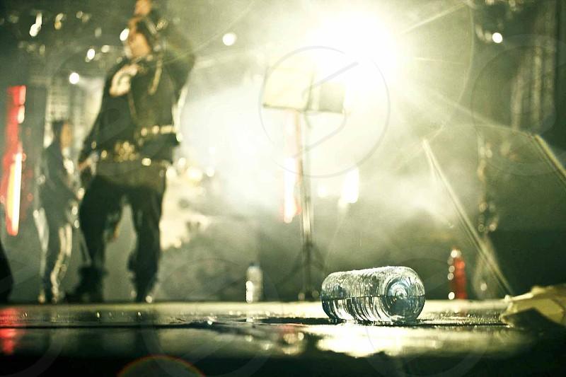 Water bottle in punk concert. photo