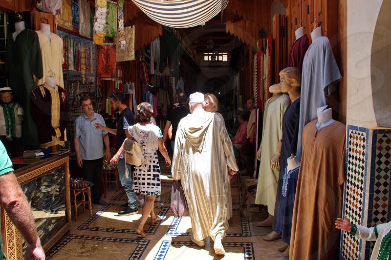 Narrow streets in Medina in Fes photo