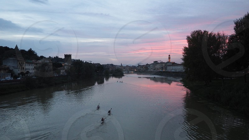 Arno river at sunset photo
