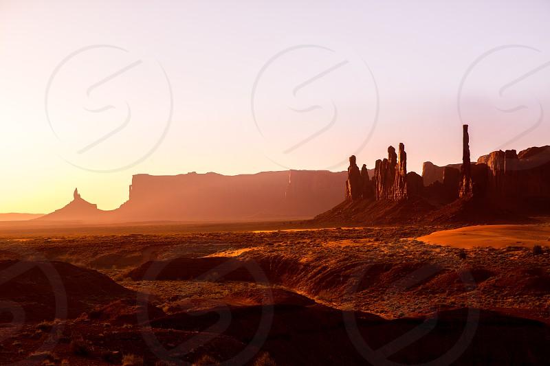 Monument Valley Totem Pole sunrise at national Park Utah photo