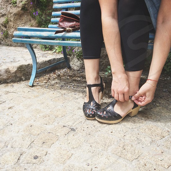womens black buckle sandals photo
