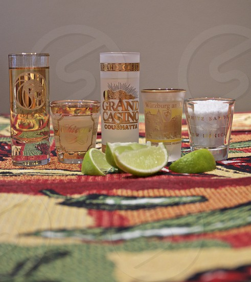 Premium tequila shots white gold lime salt travel photo