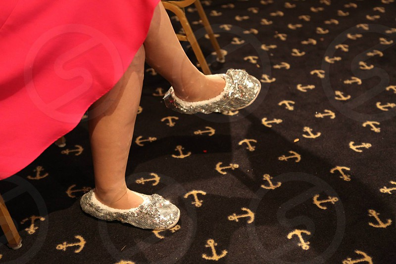 silver glitter slippers photo
