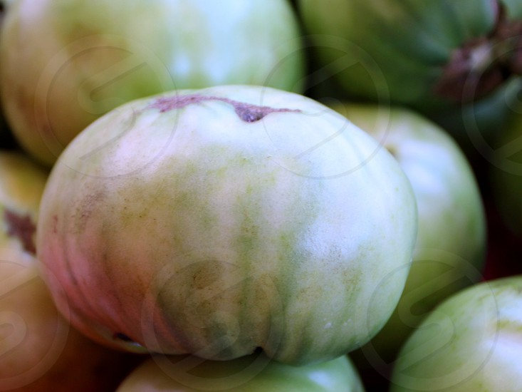 Green tomato slightly pink at farmers market photo