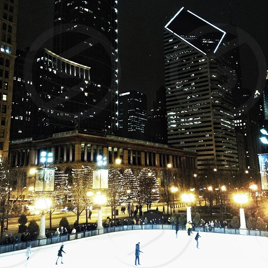 city view with ice rink photo