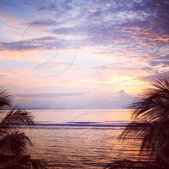Pre-dawn beach scene in the Maldive Islands. photo