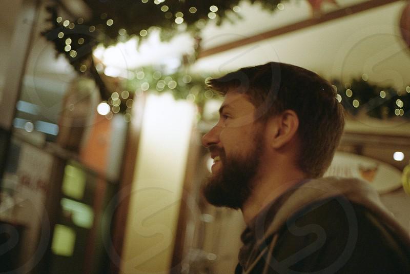 Man beard smile analog photo