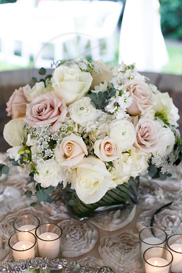 white and pink flower bouquet photo