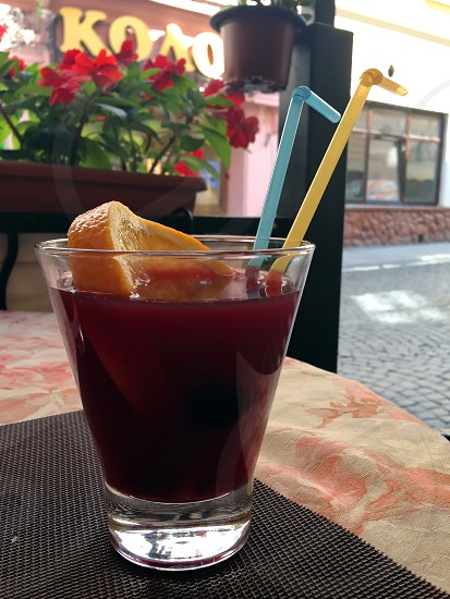 happyhour happy hour sangria drink alcohol coctail vine straw tubule red blue yellow orange fruit leisure cafe street photo