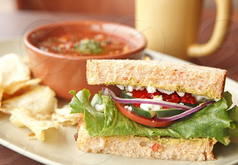 Vegetable soup and sandwich photo